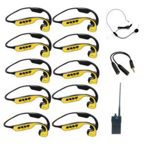 Pack 10 casques avec étui + Talkie Walkie 12 canaux